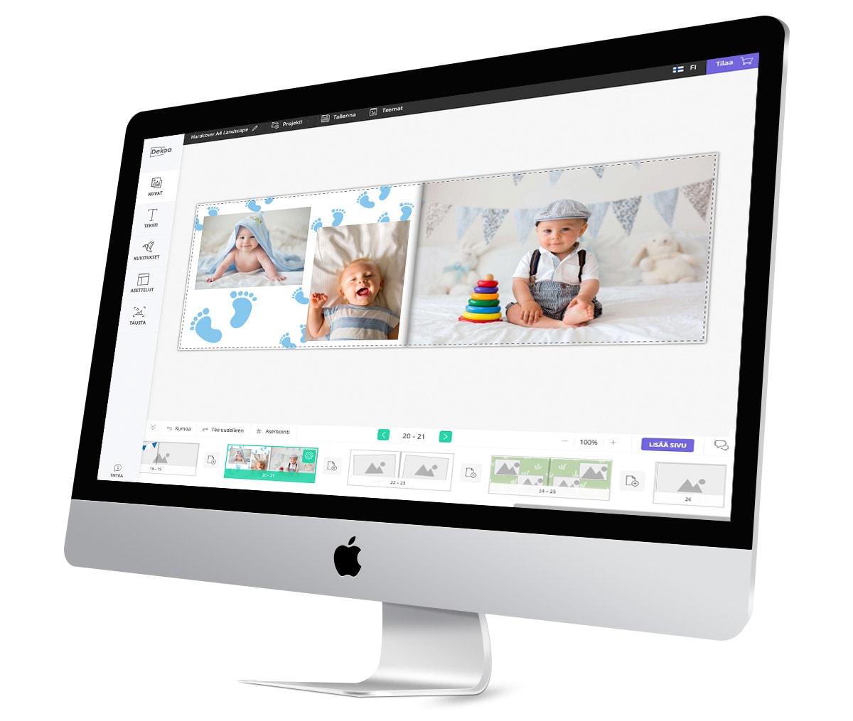Kuvakirja sovellus, jossa suunnittelu-ohjelma kännykällä ja tietokoneella