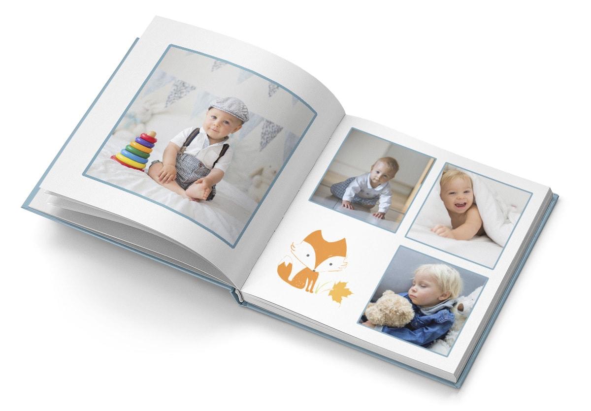 Premium-kuvakirja lapsesta, jossa monta valokuvaa